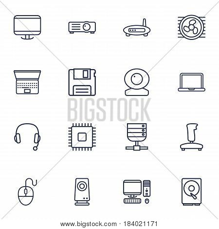 Set Of 16 Notebook Outline Icons Set.Collection Of Projector, Server, Web Cam And Other Elements.