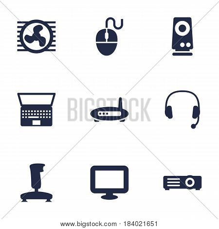 Set Of 9 Notebook Icons Set.Collection Of Headset, Fan, Joystick And Other Elements.