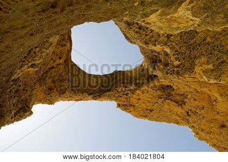 beach cave at Albufeira, Algarve, the south of portugal