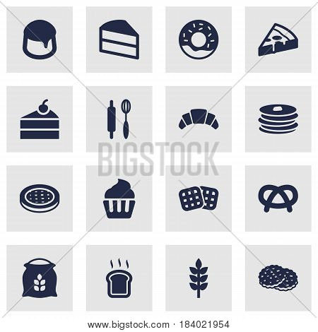 Set Of 16 Cook Icons Set.Collection Of Doughnut, Pastry, Whisk And Other Elements.
