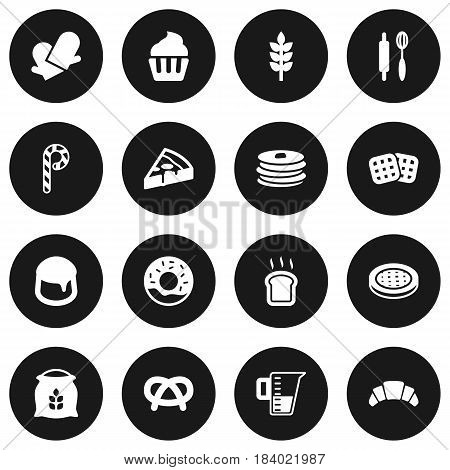 Set Of 16 Stove Icons Set.Collection Of Pepperoni, Slice Bread, Cake And Other Elements.