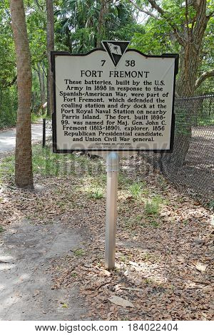 SAINT HELENA ISLAND SOUTH CAROLINA - APRIL 16 2017: Historical sign describing the history of the batteries at Fort Fremont Historical Park on Saint Helena Island in Beaufort County South Carolina