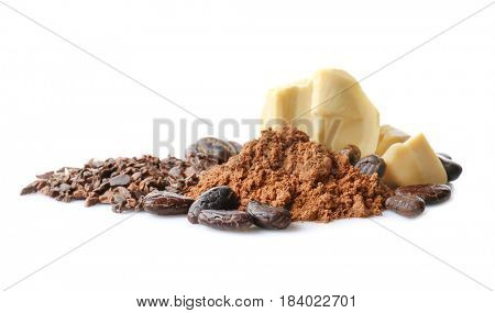 Aromatic cocoa powder, beans and butter on white background