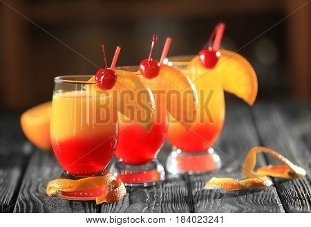 Tequila sunrise cocktails on table