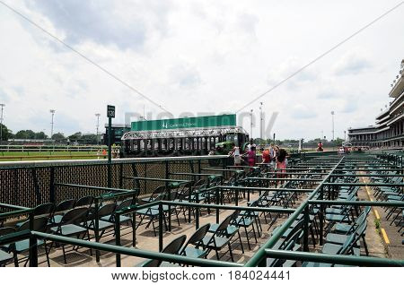 starting gate at Churchill Downs, Louisville, Kentucky, May 27th, 2016