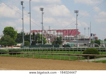 University of Louisville Football stadium as viewed from Churchill Downs, Louisville, Kentucky, May 27th, 2016