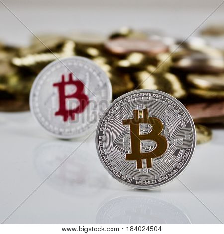 Yellow And Pink Bitcoin Coin
