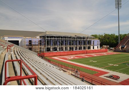 Miami University, Yager Football stadium with indoor sports center under construction, May 30th, 2016