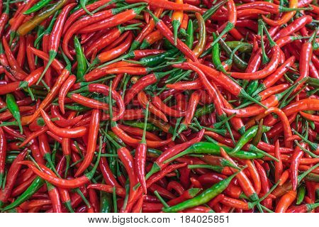 Pile of fresh red chilli peppers texture. Raw food background. Close up. Traditional vegetable market in Bangkok, Thailand. Selective focus