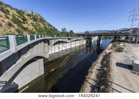 Los Angeles River and the Golden State 5 Freeway bridge in Southern California.
