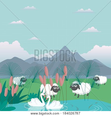 lambs sheep in nature feed grass farm cartoon vector illustration