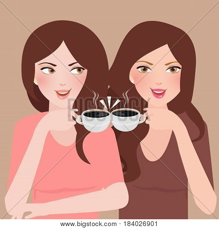 two young girls talking in a cafeteria drinking coffee frienship together vector