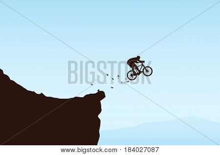 illustration of bicycle rider silhouette jumped from cliff