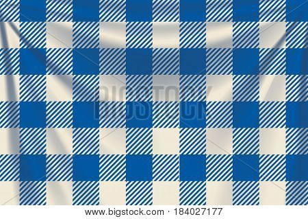 illustration of blue square textile background with creases