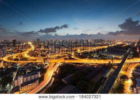 Bangkok Expressway and Highway top view during twilight time ,expressway is an important facility for rush hour in Bangkok , Bangkok,Thailand