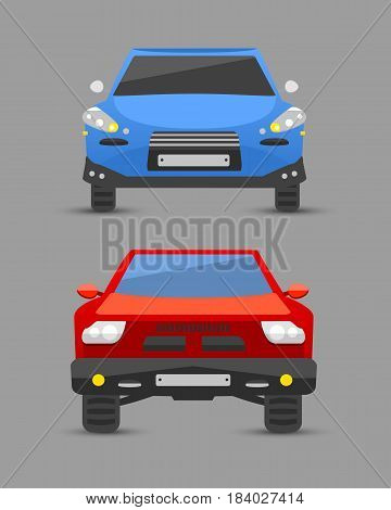 Flat car vehicle type design front view sign technology style vector generic classic business illustration isolated. Transportation luxury side view travel contemporary fast traffic.