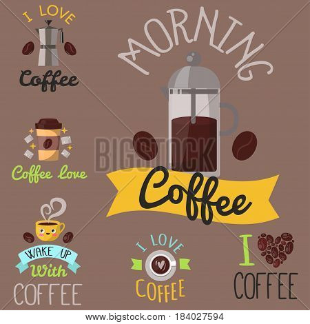 Coffee badge logo food design hand drawn calligraphic lettering restaurant, cafe menu and shop element label sticker vector illustration. Typographic cappuccino premium quality template.