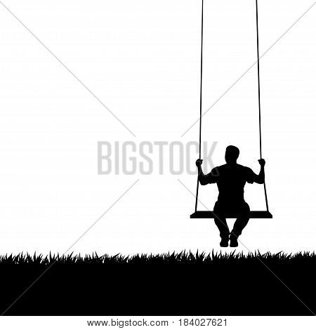 illustration of male silhouette sitting on swing with grass on white background
