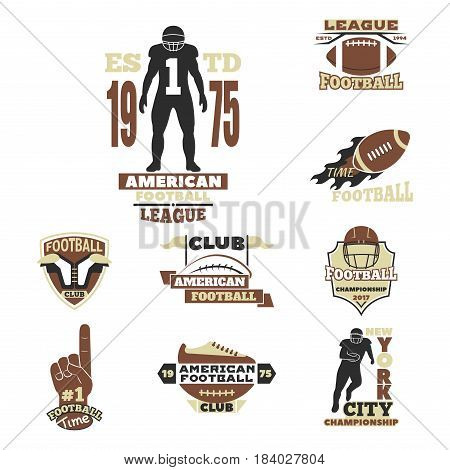 American football championship logo template for sport team with ball and symbols competition graphic champion badge. Vector club game element winner brown illustration.