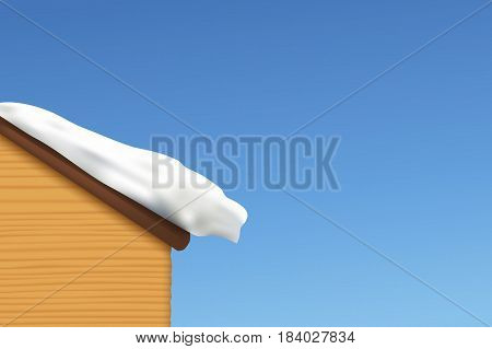 illustration of realistic snow lying on wooden roof at blue shiny sky