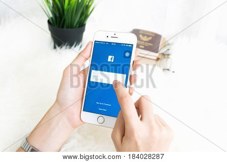 BANGKOK THAILAND - April 30 2017 : Login Screen Facebook icons on Apple IPhone. largest and most popular social networking site in the world.