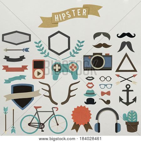 Variety of hipster hobies activity icons