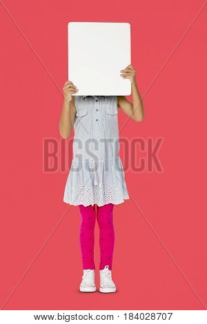 Little girl holding blank placard covering her face