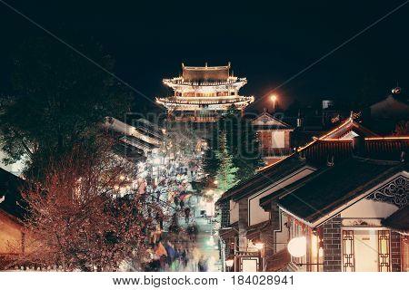 Street rooftop view in Dali Town at night, Yunnan, China