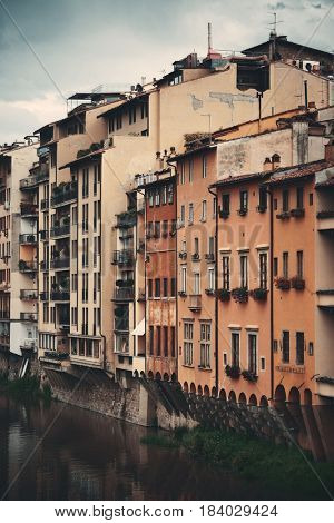 Italian style old buildings along Arno River in Florence, Italy.