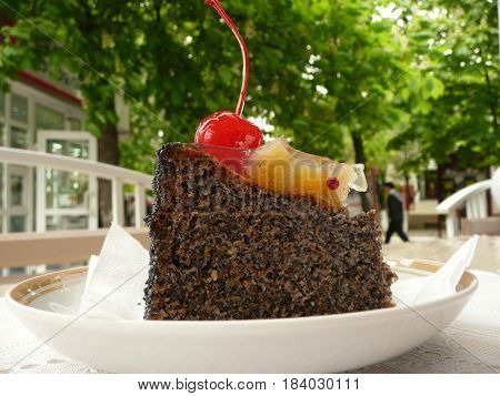Delicious chocolate cake with cherry on a background of green street