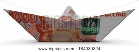 Paper boat from an Russian banknote (ruble) on white surface. Isolated. 3D Illustration