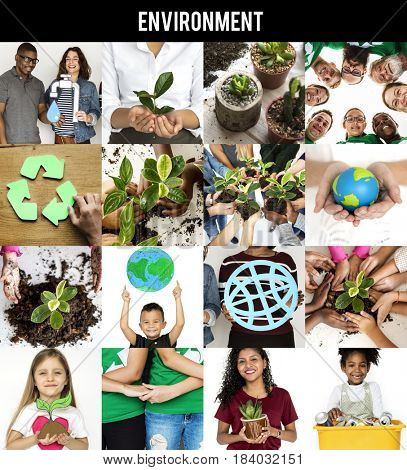 Environment Responsible Green Global Ecology People Studio Collage