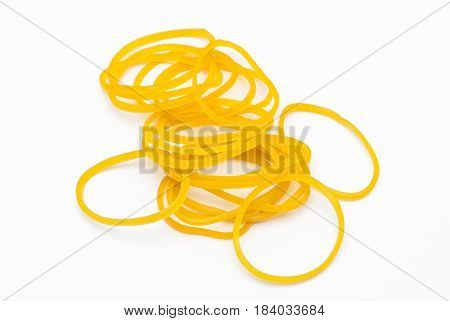 Closeup To Pile Of Yellow Rubber Band, Isolated