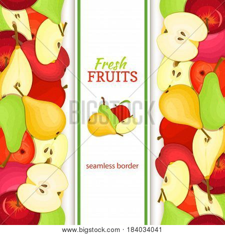 Apple pear vertical seamless border. Vector illustration fruit coposition Yellow red and green apples pears fruits whole and slice for packaging design of juice jam breakfast healthy eating detox diet