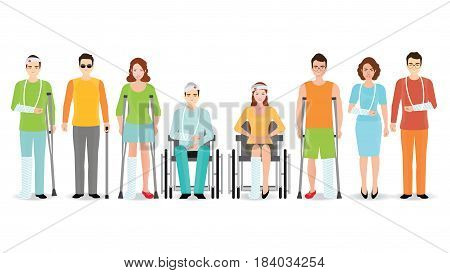 Disabled people banner isolated on white Invalid persons blind man broken arm people on wheelchair prosthetic arms and legs. Healthcare assistance and accessibility concept cartoon character vector illustration.
