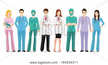 Medical team isolated on white Set of hospital medical staff Doctors nurses and surgeon Healthcare and medical concept cartoon character Vector Illustration.