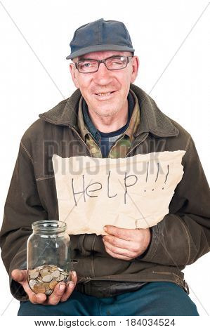 Beggar and coins in a glass jar