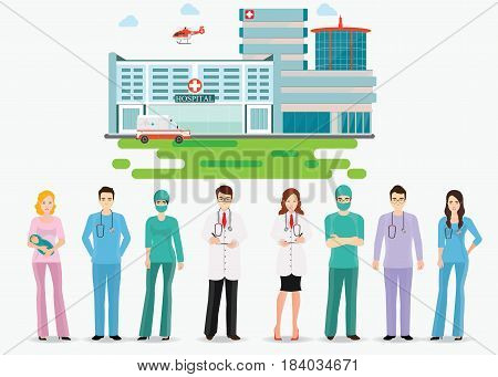 Medical staff standing in front of hospital building with ambulance and helicopter Doctors and nurse medical health care cartoon character flat design vector illustration.
