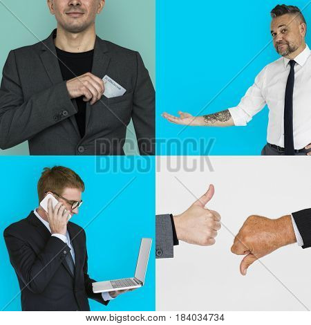 Customer Care Support Service Studio Portrait Collage Isolated