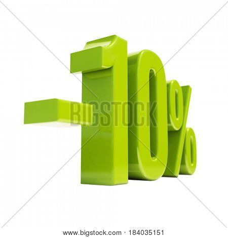 3d render: 10 Percent Discount Sign, Sale Up to 10%