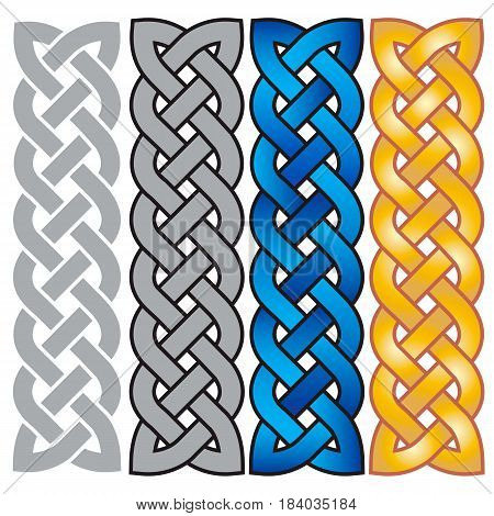 Celtic pattern in the form of the weaved braid (a set in different colors).