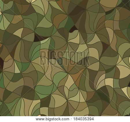 Abstract wave camo background of drawn lines. Coloful floral pattern.