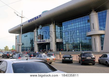 KIEV, UKRAINE - MAY 2, 2014: It is South portal to the central railway station - new entrance to the station.