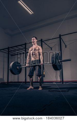 Bodybuilder Deadlift, Shouting Screaming, Weights Bar Barbell, Dark Gym Indoors