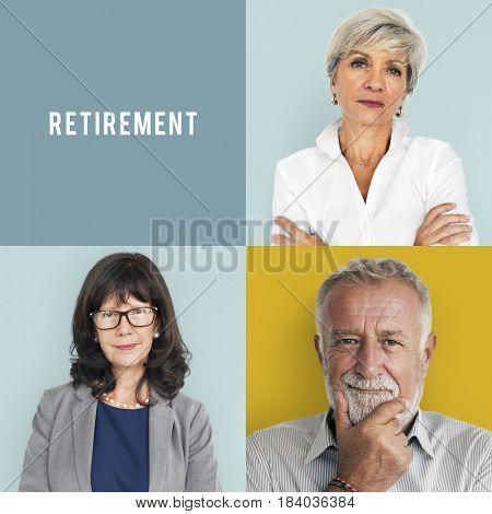 Senior Adult Enjoying Retirement Life Studio Portrait Collage