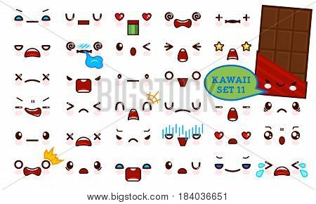 Set of cute kawaii emoticon face and sweet chocolate kawaii. Collection emoticon manga cartoon style. Vector illustration. Adorable characters icons design