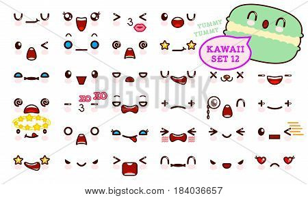 Set of cute kawaii emoticon face and sweet macaron kawaii. Collection emoticon manga cartoon style. Vector illustration. Adorable characters icons design
