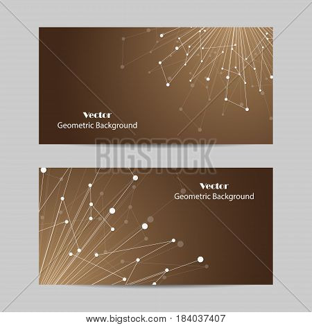 Set of horizontal banners. Geometric pattern with connected lines and dots. Vector illustration on brown background.