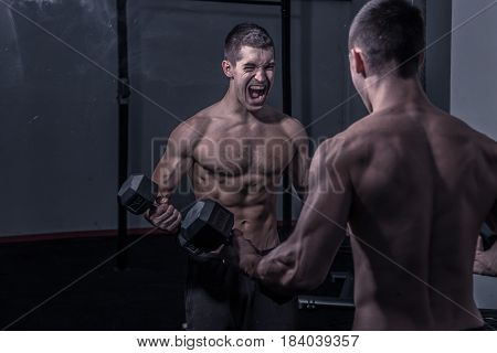 One Young Man, Shouting Screaming, Looking At Himself, Mirror