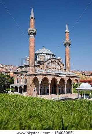 Miniaturk, Istanbul. A Scale Copy Of  Manisa Muradiye Mosque In Manisa.